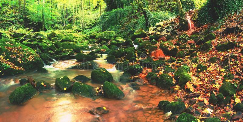 Cascades in rapid stream of mineral water. Red ferric sediments on big boulders stock images