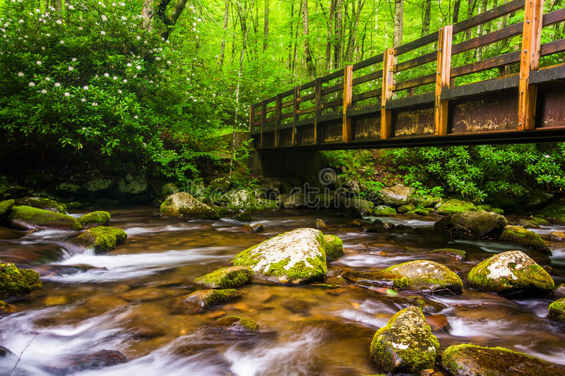 Cascades and walking bridge over the Oconaluftee River royalty free stock images