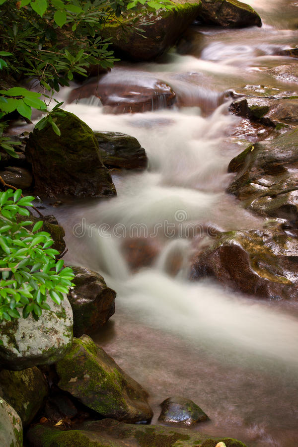 Cascades of water gently glide over rocks in mountain stream royalty free stock photo