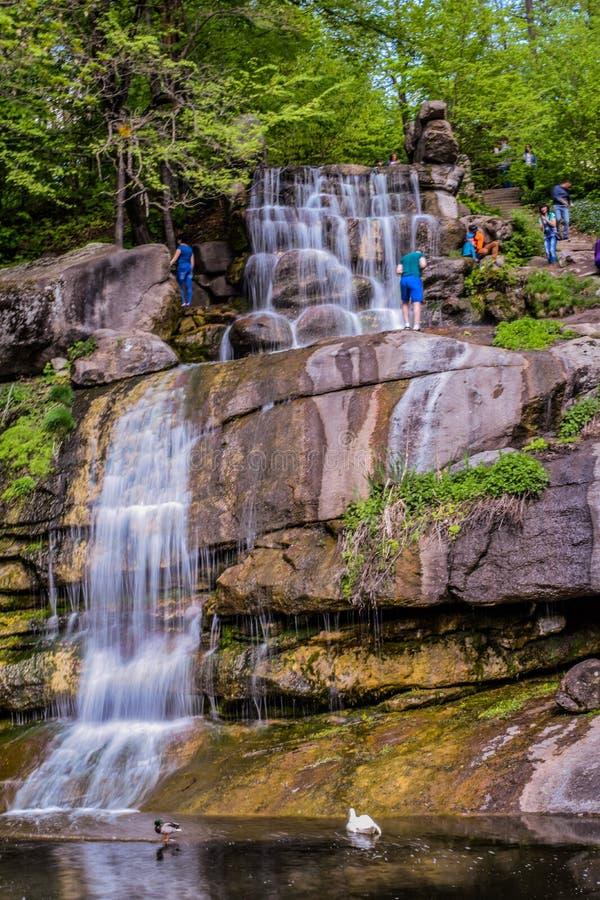 Cascadewaterval in het dendrological park in Uman stock foto's