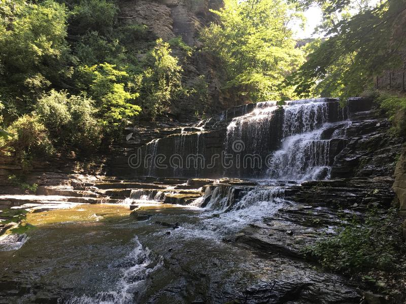 Cascadilla Falls on a summer day in Ithaca, NY. stock photo