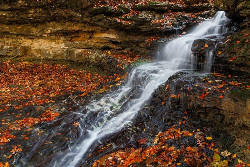 Cascading Autumn Waterfall stock image