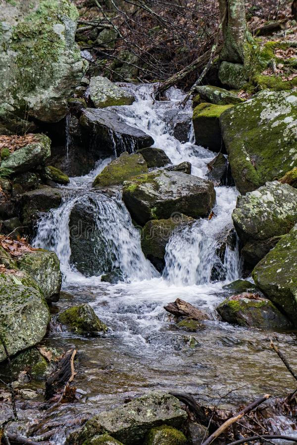 Cascading Waterfall in the Blue Ridge Mountains royalty free stock photo