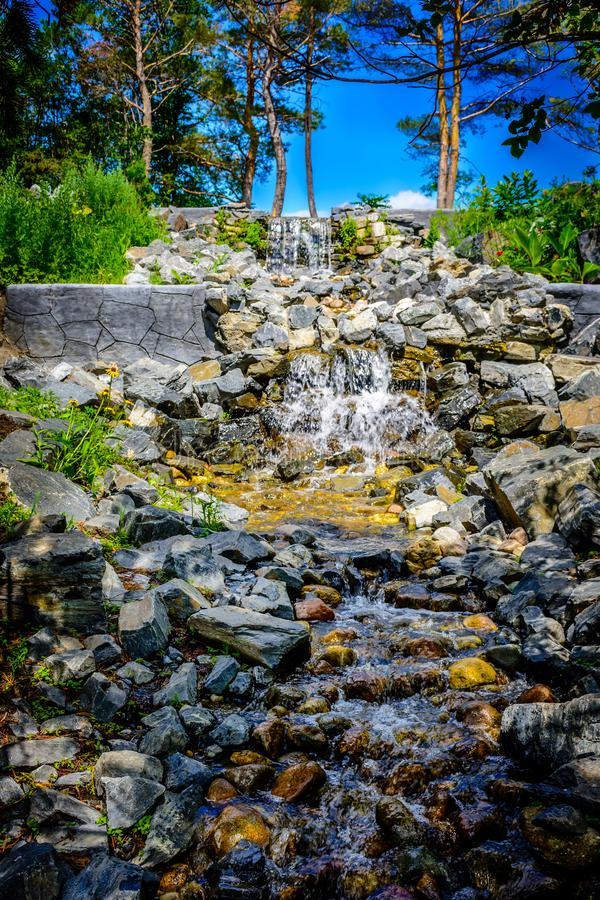 Waterfall feature in public park. royalty free stock images