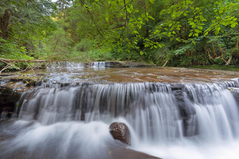 Cascading Waterfall over Ledge at Sweet Creek Falls Trail royalty free stock images