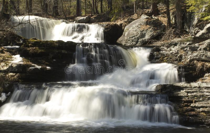 Cascading waterfall in the Pocono mountains, Bushkill pennsylvania stock image