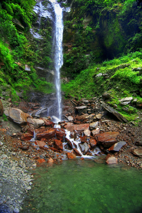 Cascading Waterfall into Pond stock photo