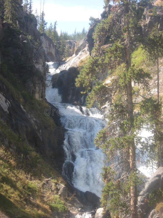 A cascading waterfall in Yellowstone National Park stock images