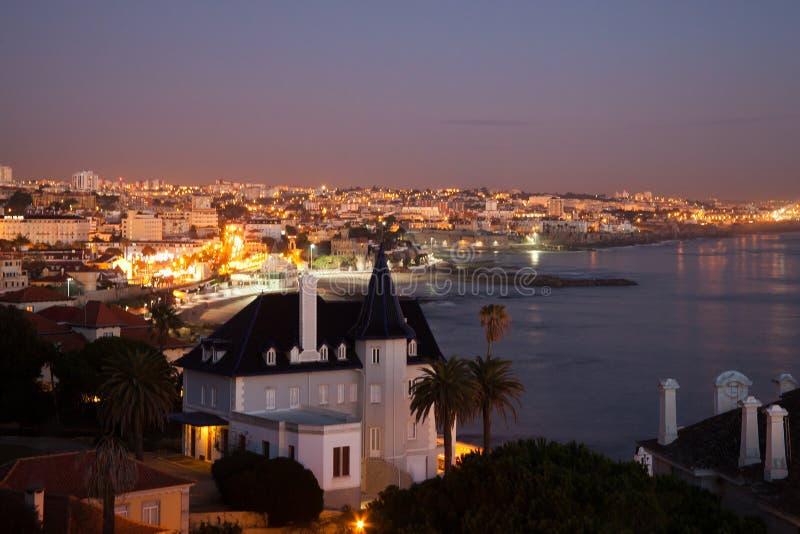 Cascais, взгляд вечера Lisboa, Португалии стоковое изображение
