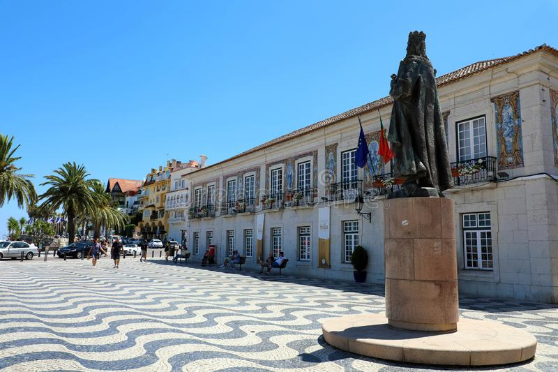 CASCAIS, PORTUGAL - JUNE 25, 2018: Central square 5th October in Cascais with statue of Dom Pedro I. Cascais is famous and popular stock photo
