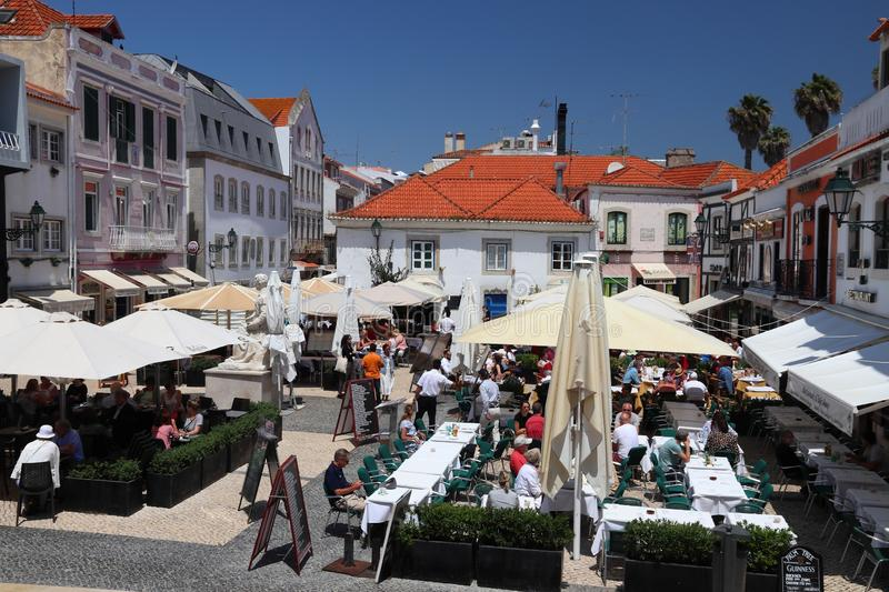 Cascais, Portugal. MAY 21, 2018: Tourists visit downtown Cascais. Portugal had 12.7 million foreign visitors in 2017 royalty free stock image