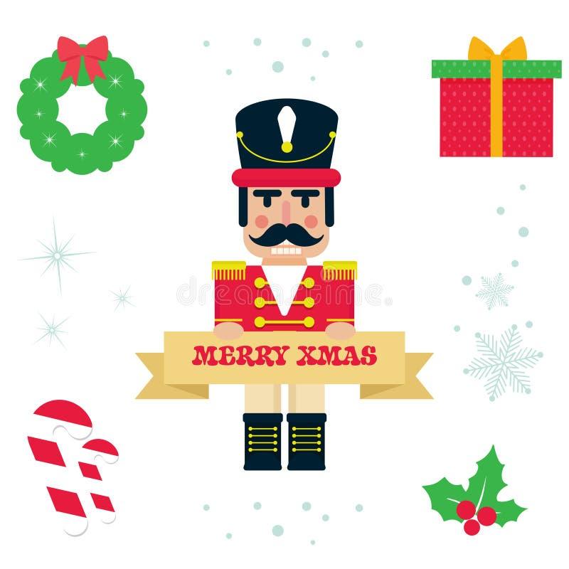 Cascanueces lindo de la historieta con vector del ejemplo de la Navidad de la muestra stock de ilustración