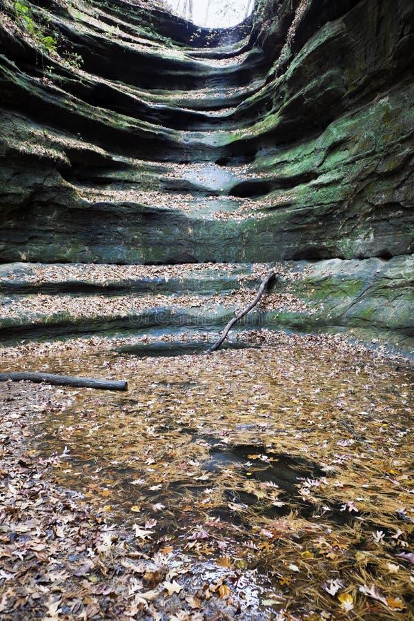 Cascata asciutta nella sosta di condizione affamata della roccia immagine stock