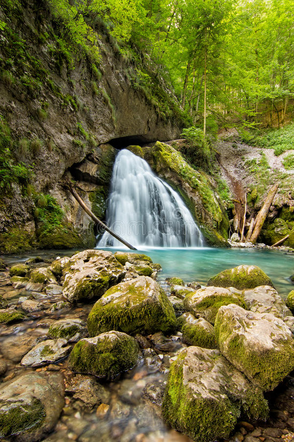 Cascata bonita na Transilvânia, Romênia, montanhas Carpathian ocidentais da pedra calcária imagens de stock