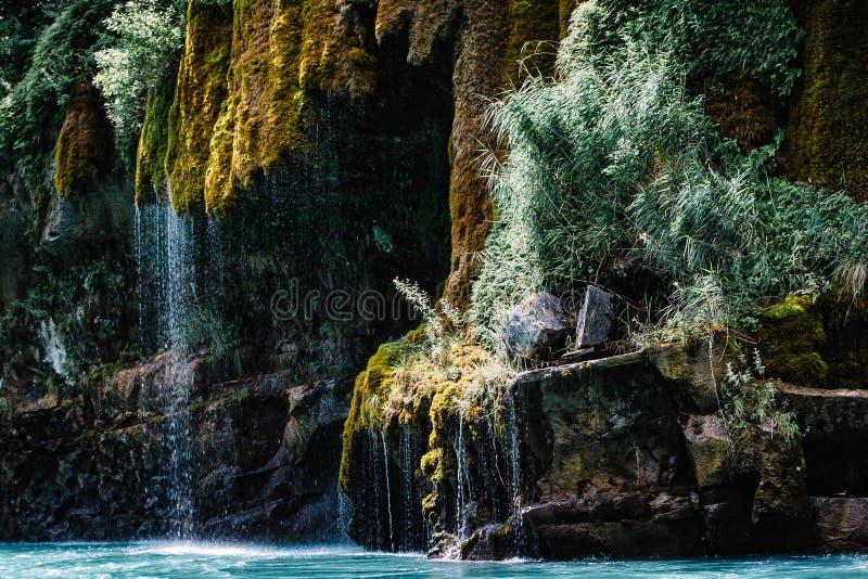 Cascata che scorre giù una montagna coperta di muschio Canyon di Sulak, Dagestan fotografia stock