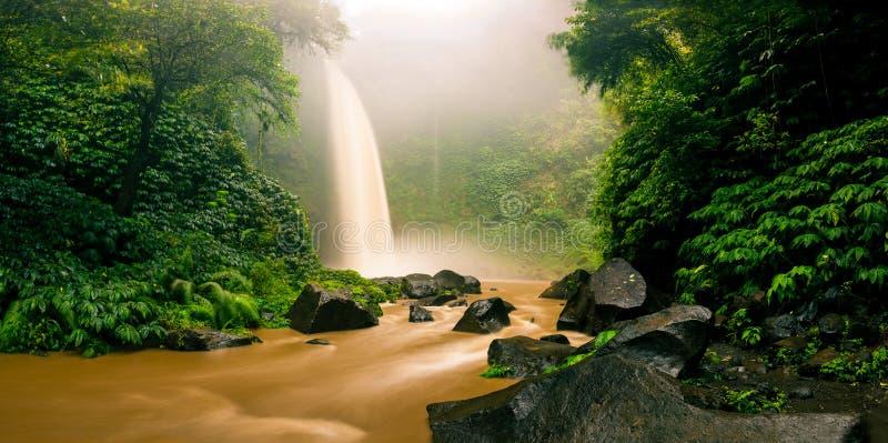 Cascata da cachoeira de Nungnung escondida na selva tropical Bali foto de stock