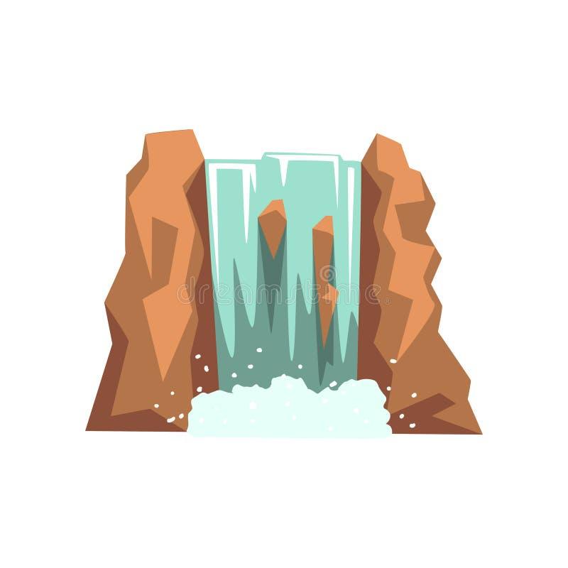 Cascata del fiume del fumetto Acqua sorgiva naturale fresca Progetti l'elemento per l'opuscolo di viaggio, il libro dei bambini s illustrazione vettoriale