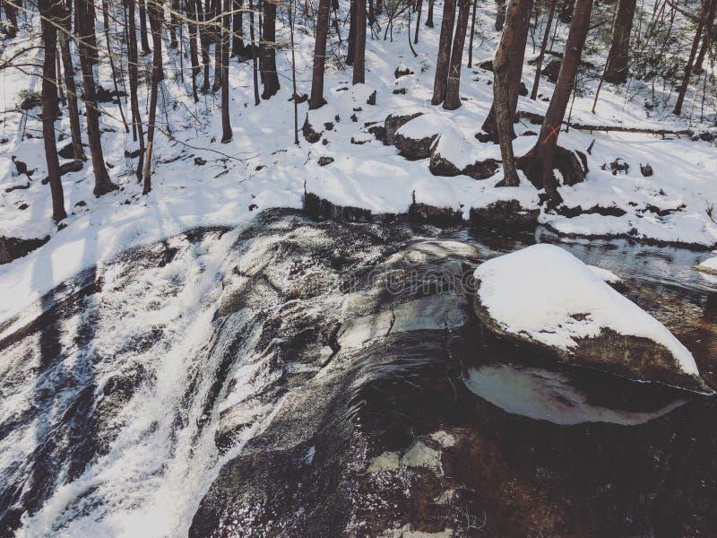 Cascata del parco di stato di Enders dopo neve fotografie stock libere da diritti