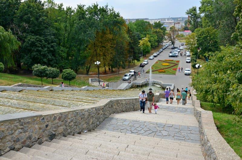 Cascata della fontana della citt?, punto di riferimento locale, Kharkov, Ucraina fotografia stock