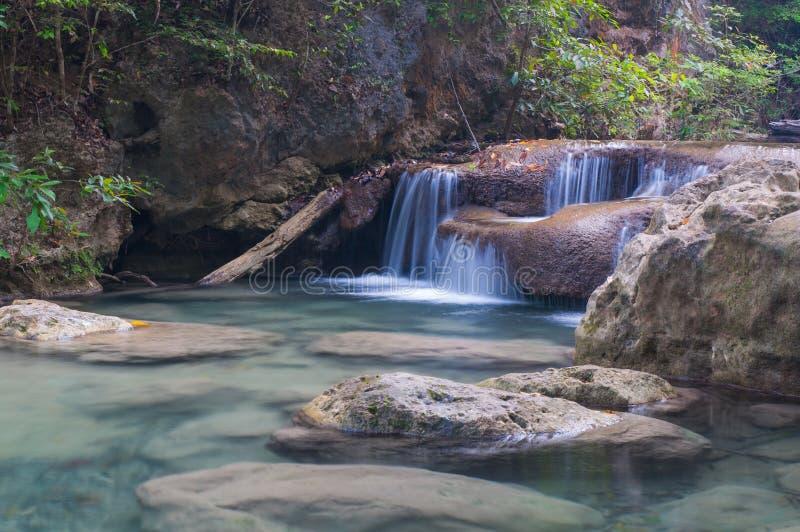 Cascata di Erawan a Kanchanaburi, Tailandia fotografia stock