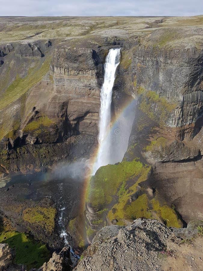 Cascata di Haifoss in Islanda fotografia stock