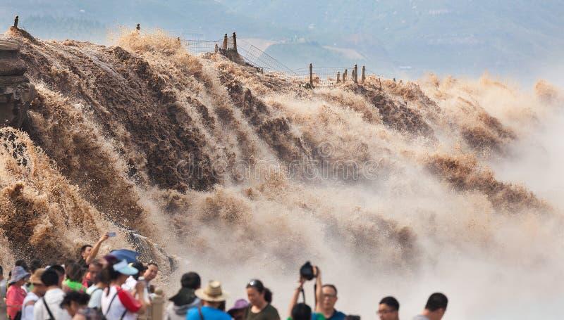 Cascata di Hukou del fiume Giallo fotografie stock libere da diritti