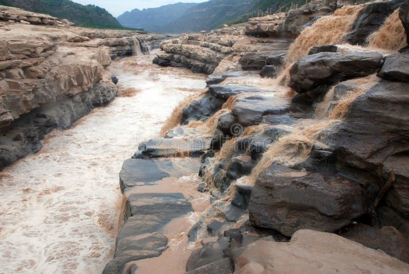 Cascata di Hukou del fiume Giallo fotografia stock