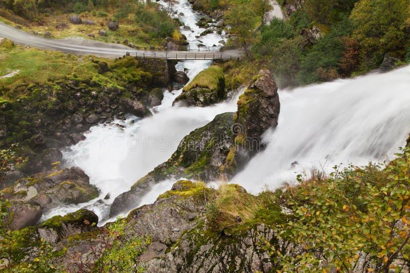 Cascata di Kleivafossen da sopra immagini stock libere da diritti
