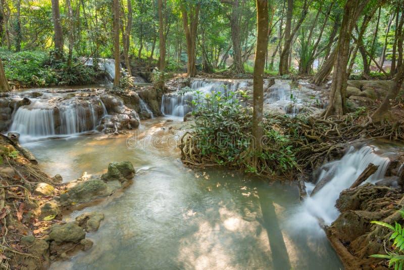 Cascata di Kroeng Krawia di scena della cascata a Kanchanaburi, Tailandia immagine stock libera da diritti