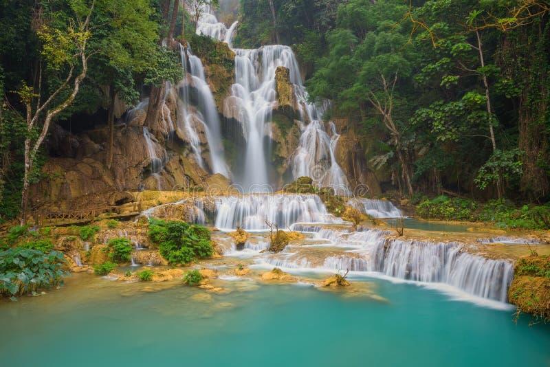 Cascata di Kuang Si con acqua di minerali blu in Luang Prabang fotografia stock