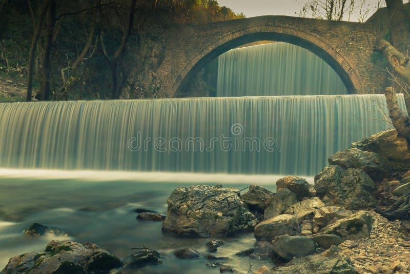 Cascata di Palaiokaria a Trikala in Grecia Esposizione lunga fotografia stock libera da diritti