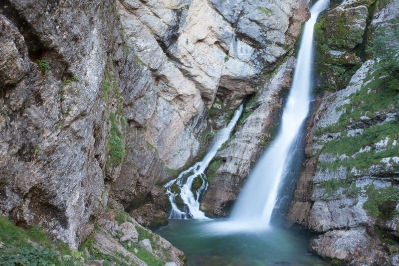 Cascata di Savica, lago Bohinj, Slovenia fotografia stock