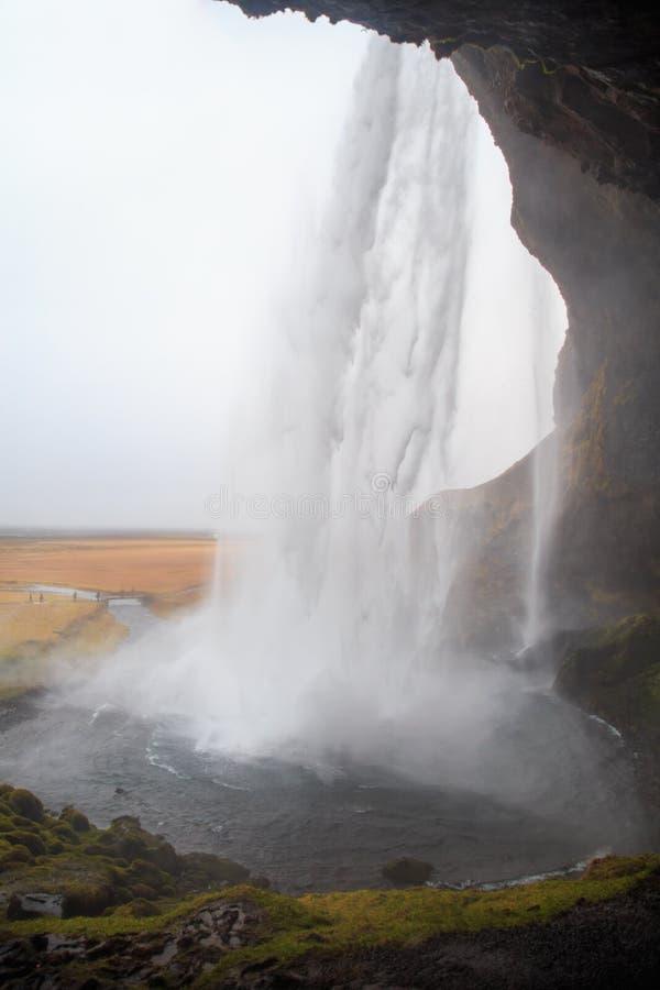 Cascata di Seljalandsfoss in Islanda del sud un giorno di inverno nuvoloso fotografia stock