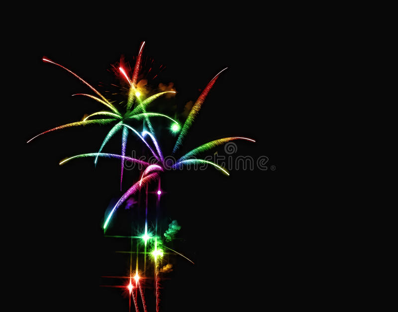 Cascata dos fogos-de-artifício do arco-íris fotos de stock