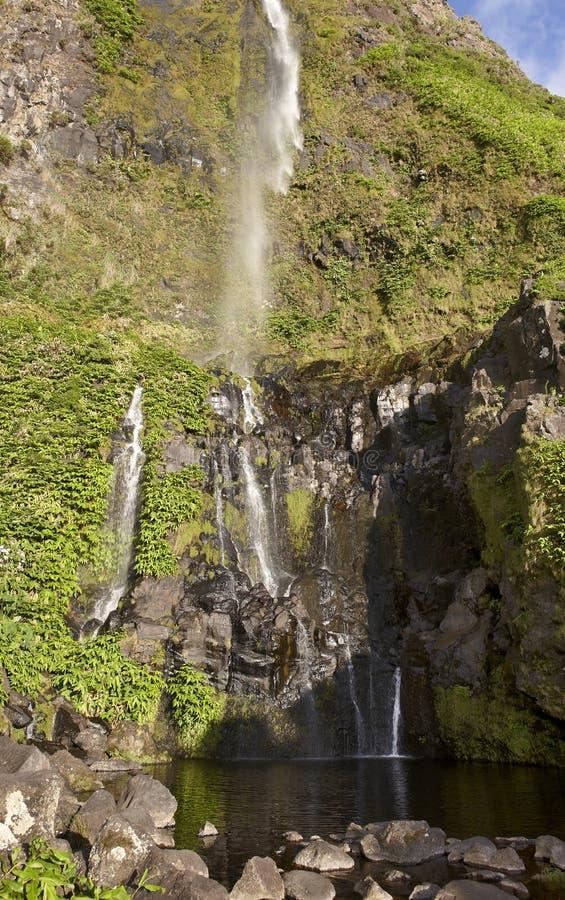 Cascata e stagno nell'isola del Flores, Azzorre Poco fa Bacalhau immagini stock