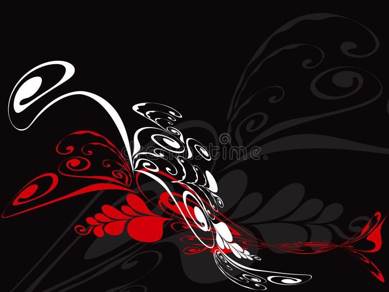 Cascata floral do redemoinho no vermelho ilustração stock