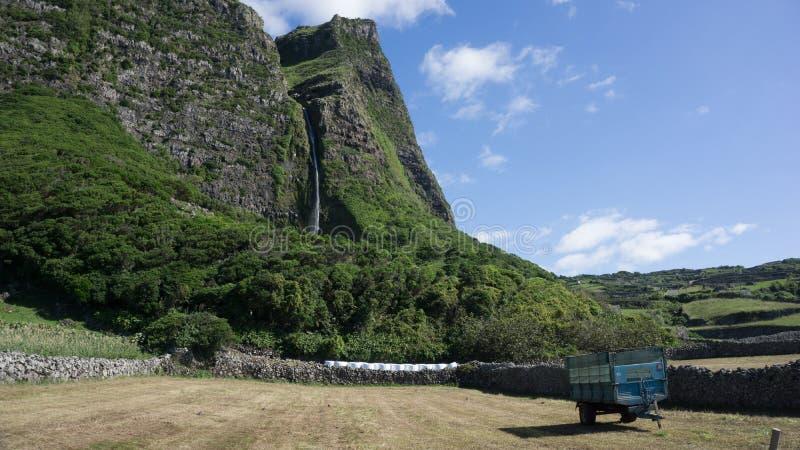 Cascata in Flores, Azzorre immagine stock libera da diritti