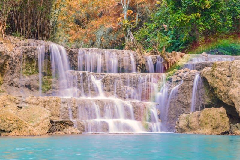 Cascata in foresta pluviale (Tat Kuang Si Waterfalls al praba di Luang fotografia stock libera da diritti