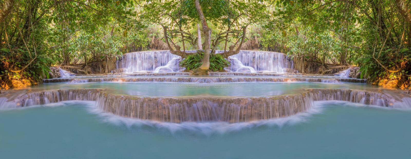 Cascata in foresta pluviale (Tat Kuang Si Waterfalls al praba di Luang immagini stock libere da diritti