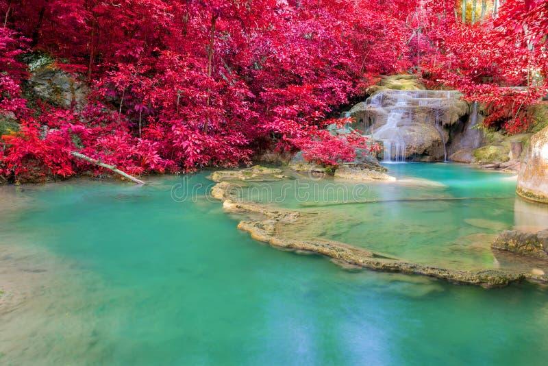 Cascata in foresta profonda al parco nazionale della cascata di Erawan fotografia stock libera da diritti
