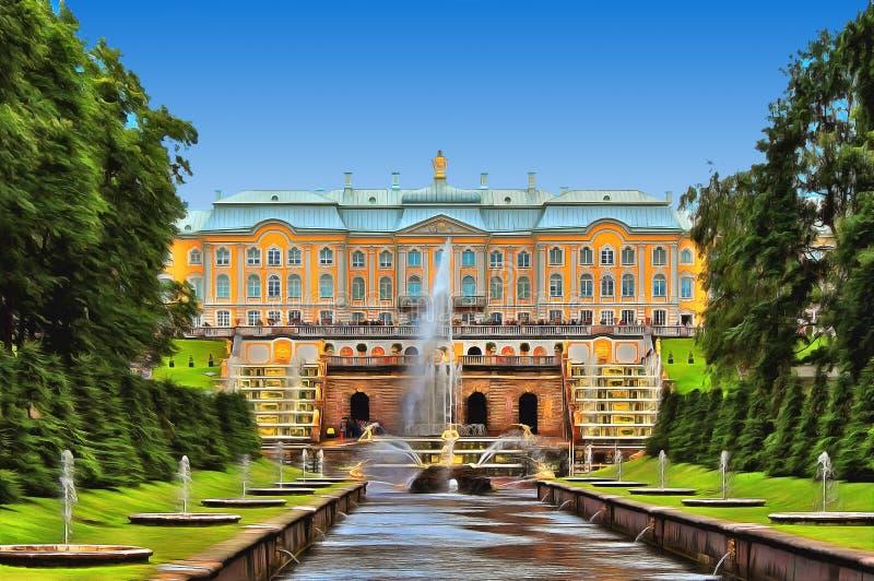 Cascata grande com fontes e o pal?cio grande de Peterhof ilustração stock