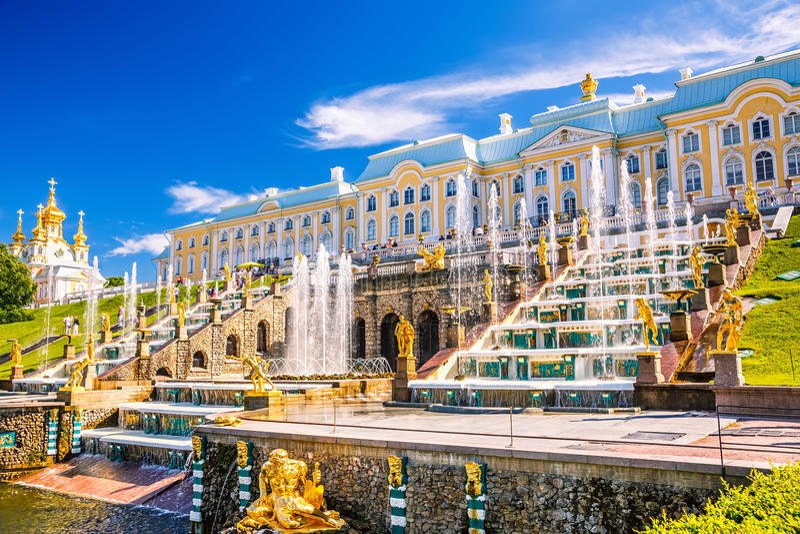 Cascata grande em Peterhof, St Petersburg fotografia de stock