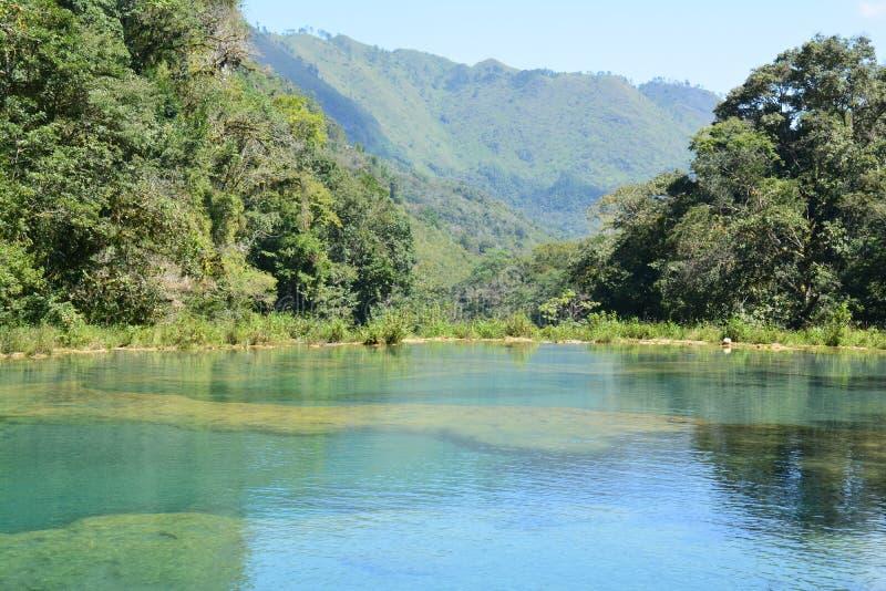 Cascata Lanquin Guatemala di Semuc Champey fotografia stock