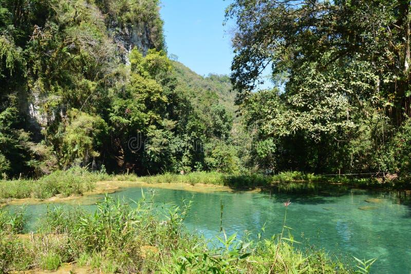 Cascata Lanquin Guatemala di Semuc Champey fotografia stock libera da diritti