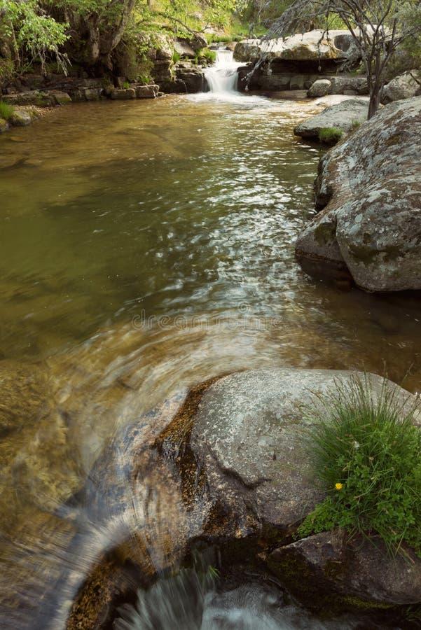Cascata nascosta di misteri nella foresta fotografie stock