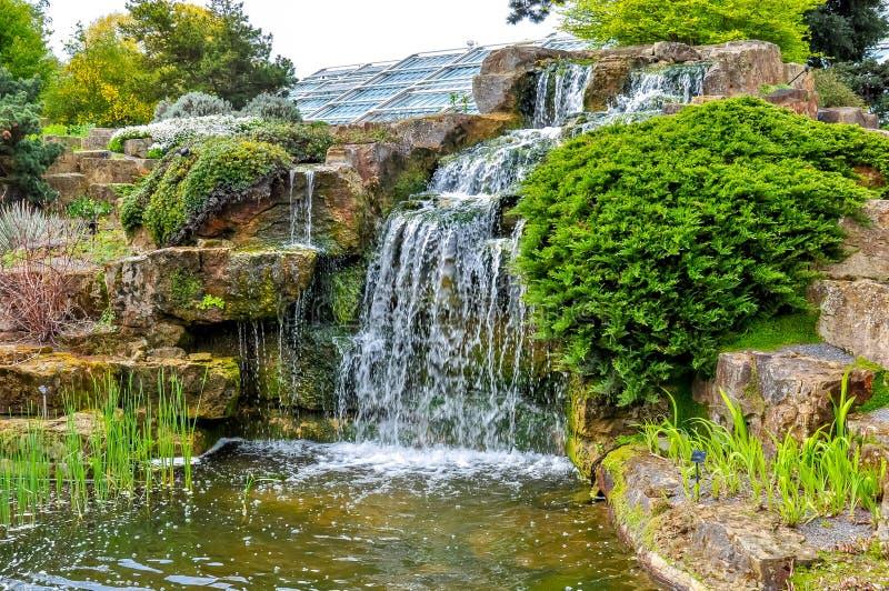 Cascata nel giardino botanico di Kew, Londra, Regno Unito fotografia stock libera da diritti