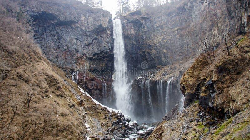 Cascata nell'inverno, parco nazionale di Nikko, Giappone di Kegon fotografia stock libera da diritti