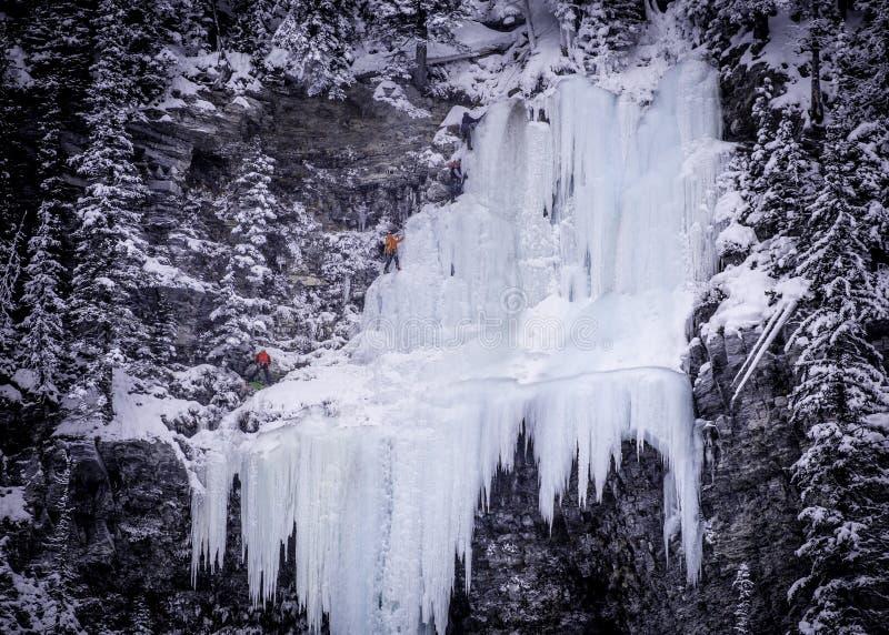 Cascata rampicante del ghiaccio fotografie stock libere da diritti