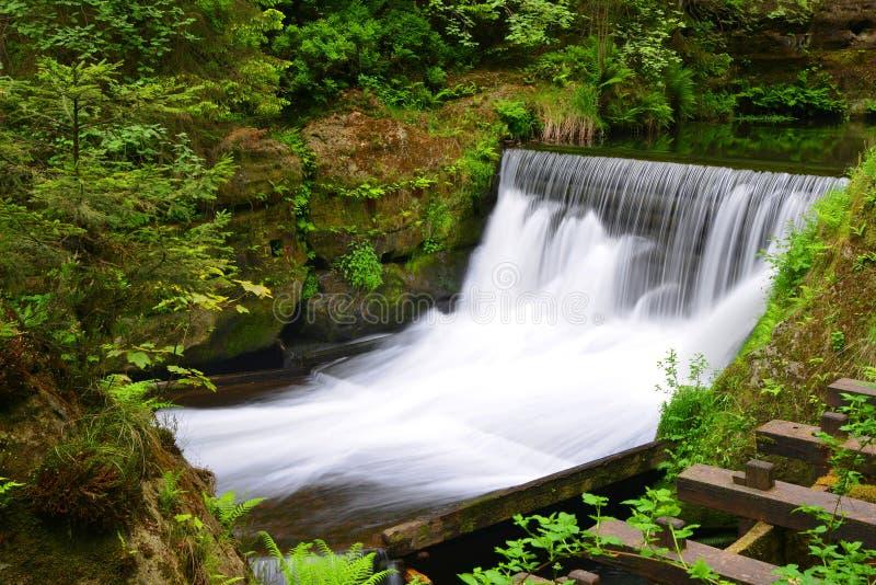 Cascata sul fiume Kamenice nel parco nazionale Ceco Svizzera fotografia stock