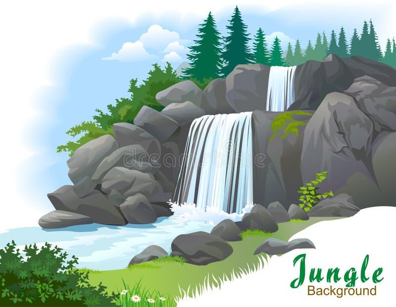 Cascata in una giungla illustrazione vettoriale